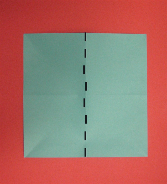 Fold the paper in half vertically. Unfold