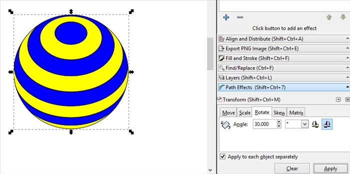 <p> Your striped globe is ready.</p>  <p> You can Rotate it with the Rotate tab on the Transform menu</p>