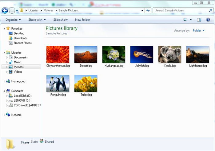 Go to the folder with the pictures you want to view.