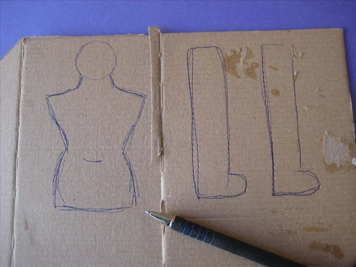 Draw the legs the length of the torso with the head.