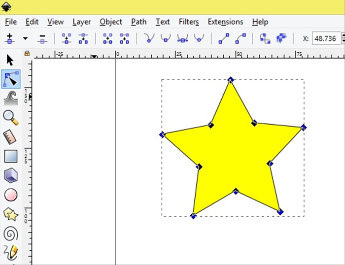 <p> Drag the node select box around the star. All the node should turn blue.  </p>  <p>  </p>  <p> *You can select each node while holding down the shift key on your keyboard.  </p>