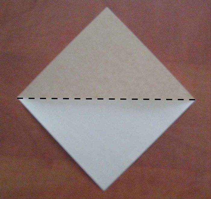 Place the paper with the points at the top, bottom and sides.  Fold in half horizontally. Unfold