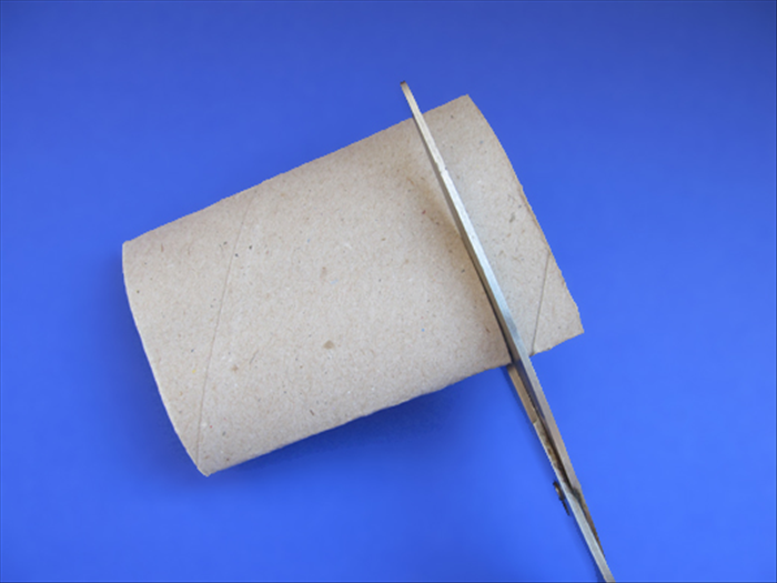 Press a toilet paper roll flat and cut a slice about ¾ the height of the rolled paper you just made. Cut 1 slice for a napkin ring or 2 slices for a bracelet