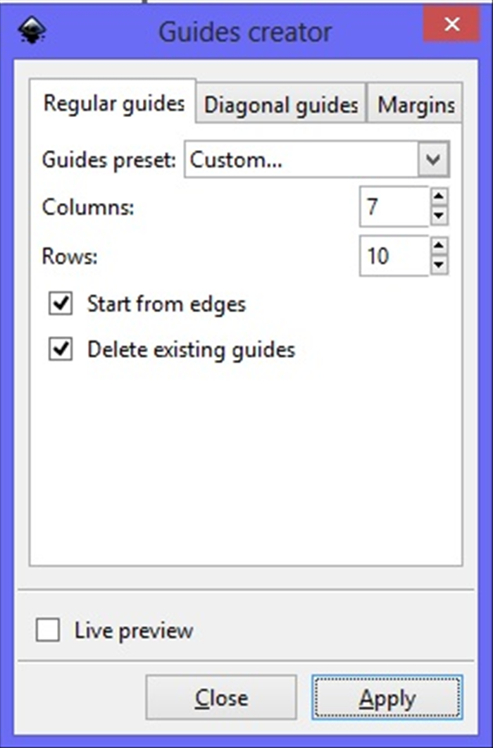 <p> 3. Change the number of Columns to 7 and Rows to 10. Check mark next to - Start from edges and Delete existing guides Click Apply  then the X box on the top right corner  </p>