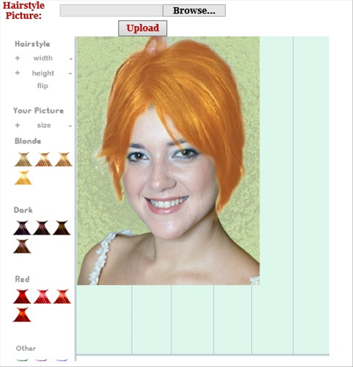 <p> Here you can just play around with different hairstyles and colors.</p>  <p> Choose hairstyles and change their width, length and colors</p>  <p>  </p>  <p> <a href='http://www.hairstyles.knowage.info/' rel='nofollow'>http://www.hairstyles.knowage.info/</a></p>