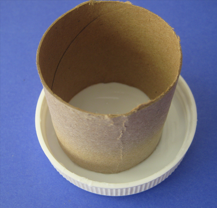 Pour plastic glue into a cover or other object  that you do not need. Place the toilet paper roll into it. Turn it around to make sure that all of the edge is covered generously with glue
