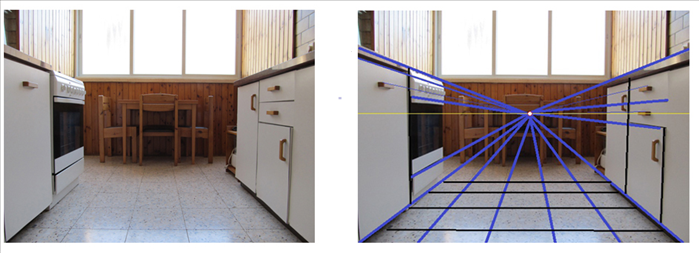 But if we change position, the parallel lines of the top and bottom edges of the closet seems to get closer together and smaller, the further away they are from where we are standing or sitting in this case.  The marked picture shows all orthogonal lines go to the one vanishing point including the floor tiles and all the closets.  We cannot see the tops of the objects above the horizon line drawn in yellow.