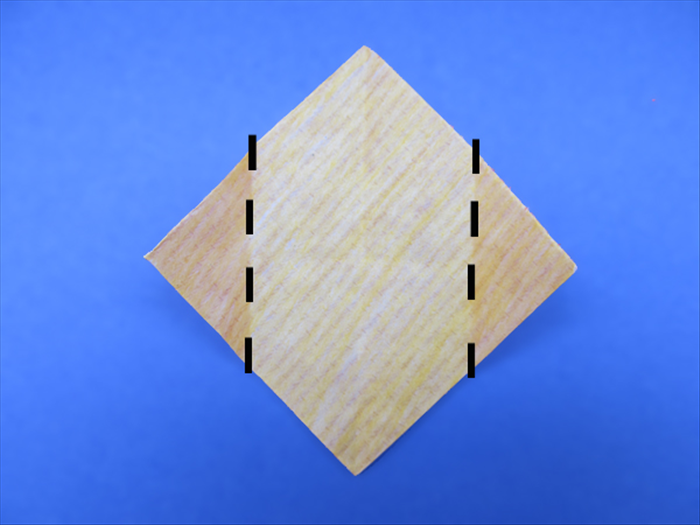 <p> Fold the 2 side points to the center pinch mark.</p>  <p>  </p>