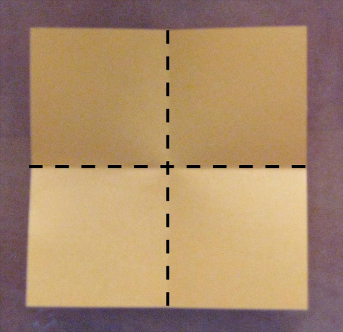 Fold the second square paper in half horizontally and half again vertically to get the crease lines for ¼. Cut out one quarter piece.