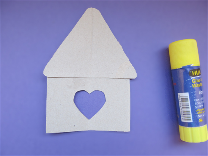 <p> Glue the roof to the top of the rectangle with the heart.</p>  <p> This is your house template.</p>  <p>  </p>
