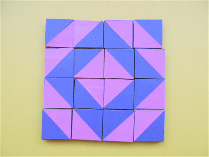 <p> Here is an example of a design made using one set of 16 squares.</p>   <p>  </p>
