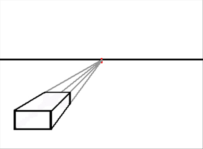 In the previous guide we made a three dimensional rectangle using a vanishing point. (see guide link, if you have not read it)   Any rectangle drawn, any place on the paper, is made 3d the same way,  by connecting lines (called orthogonal lines) from its corners to the vanishing point (on the horizon line) and then connecting the orthogonal line with horizontal and vertical lines (called transversal lines.)  This solid 3d rectangle is to the left side and below the horizon line.  It is below our eye level and to our left.  We see only the side parallel to our face and it's top and right side.